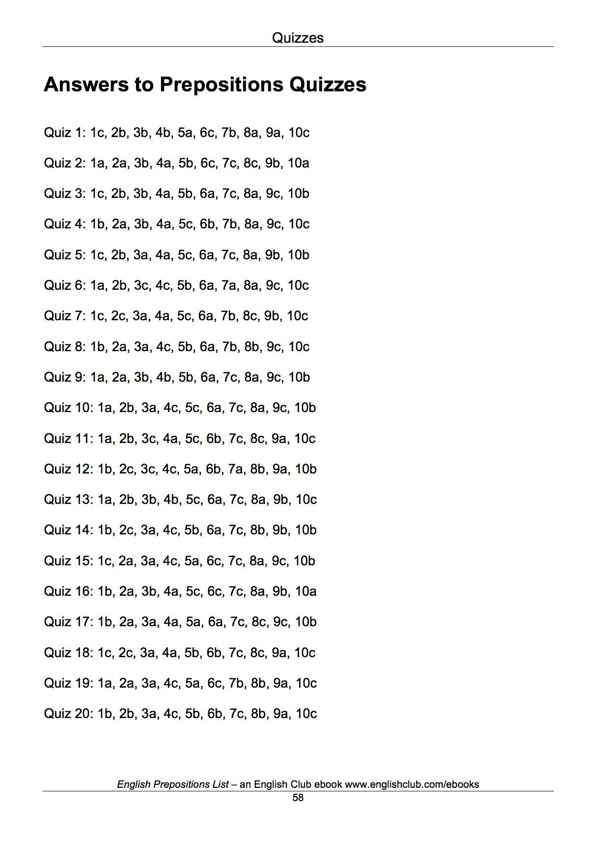English Prepositions List Ebook By Josef Essberger