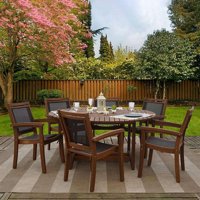 grande 7 piece eucalyptus wood outdoor patio furniture dining set