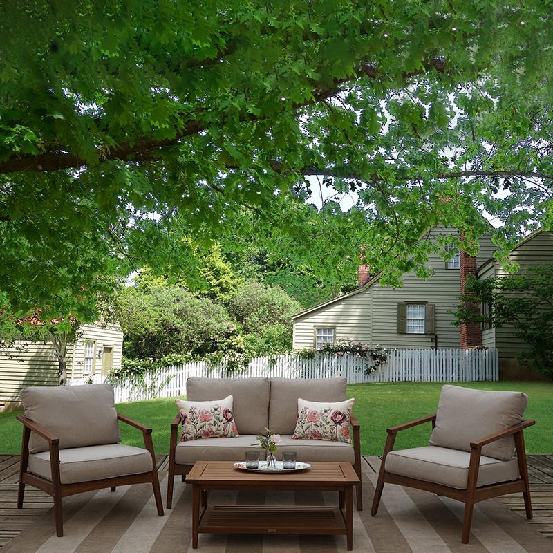 modern 4 piece eucalyptus wood outdoor patio furniture lounge set