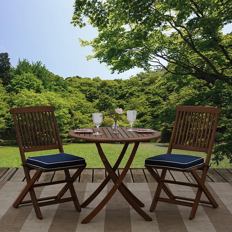 3 piece eucalyptus wood outdoor patio furniture bistro set
