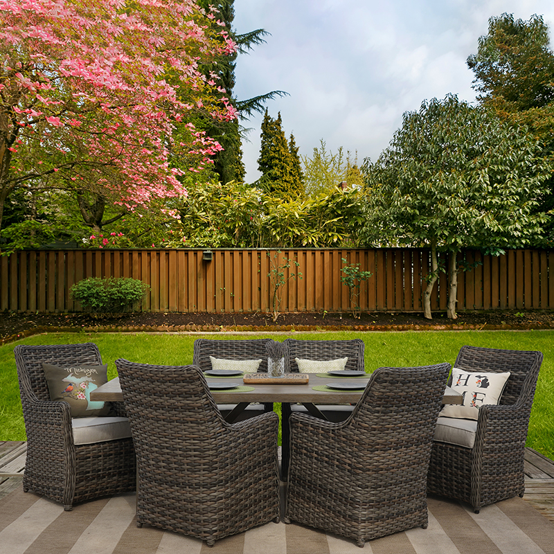 seabrook 7 piece all weather wicker outdoor patio furniture dining set