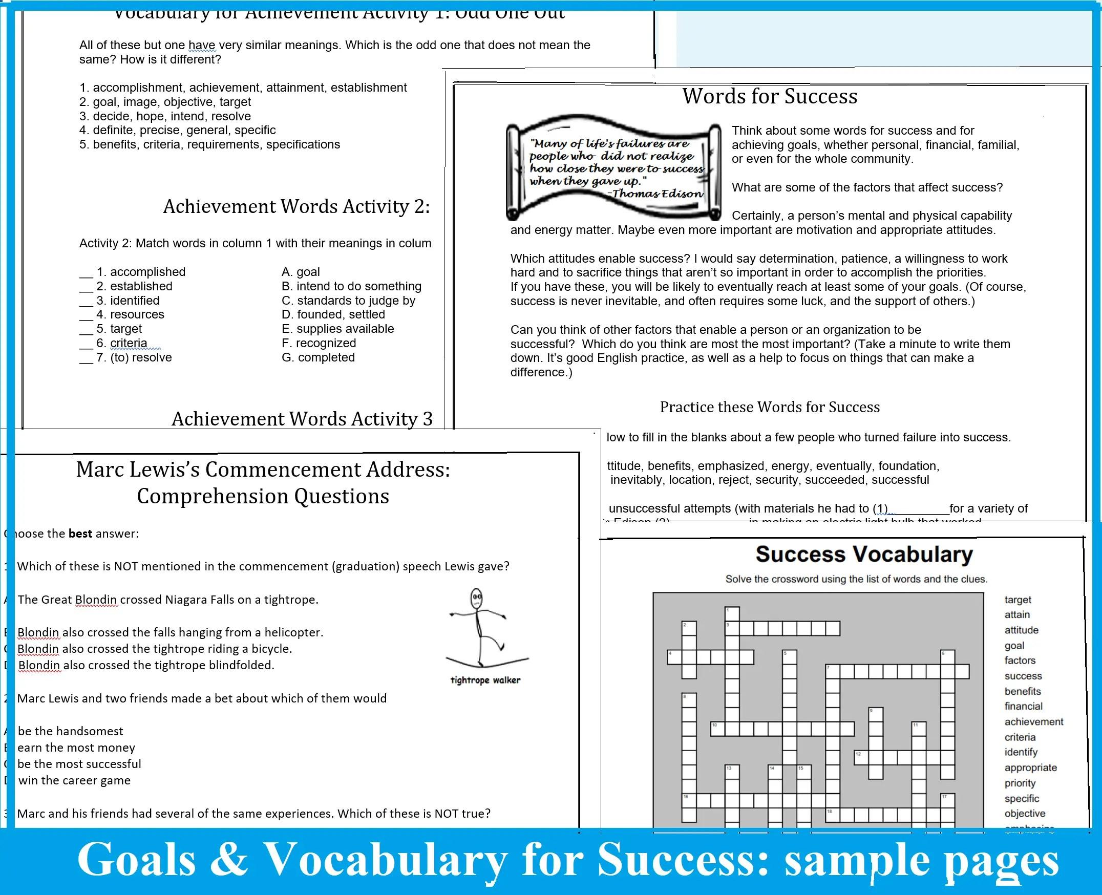 Academic Vocabulary Worksheets