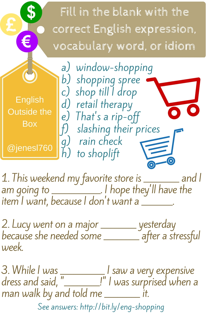 Workbooks shopping worksheets esl : English Expressions, Vocabulary, and Idioms for Shopping - English ...
