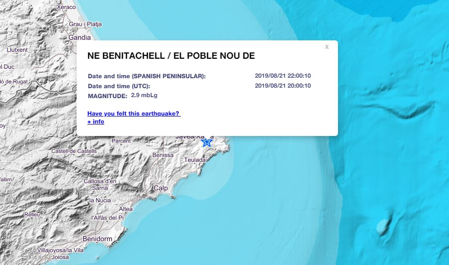 Minor earth tremor reported on Costa Blanca