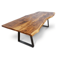Handmade in Brighton super wide Walnut waney edge dining table with butterfly joints bespoke metal trestle legs