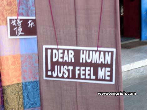 Querido humano, apenas me sinta!