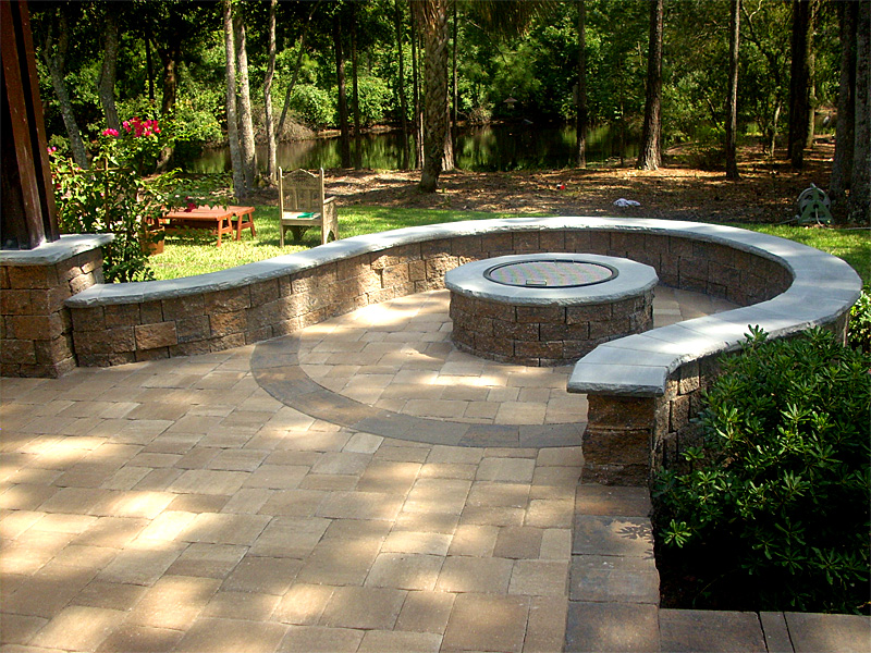 Hardscape Package #3 - Brick Paver Patio, Pergola, Firepit ... on Paver Patio Designs With Fire Pit id=91018