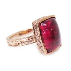 Pink Tourmaline Cabochon one of a kind Engraved Alternative Engagement ring