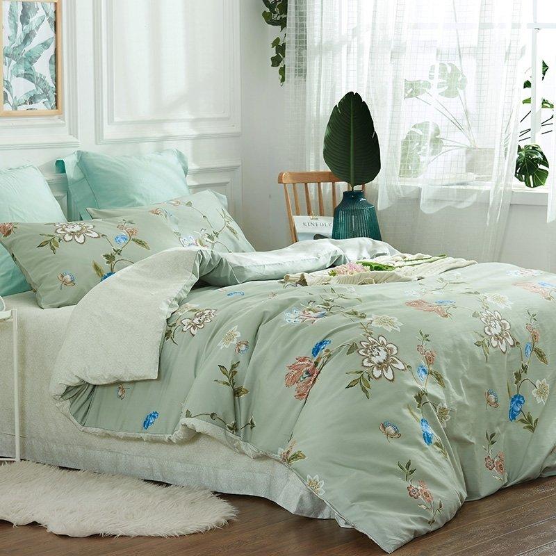 mint green brown blue and white wildflower print french country chic soft full queen size bedding sets