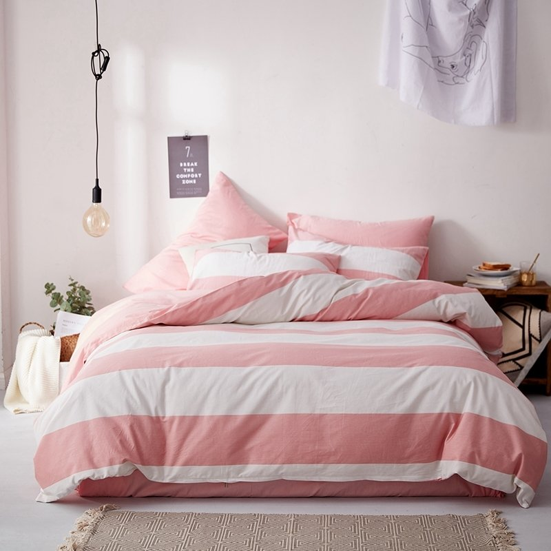elegant pink and white rugby stripe nautical themed cute girly girls twin full queen size bedding sets