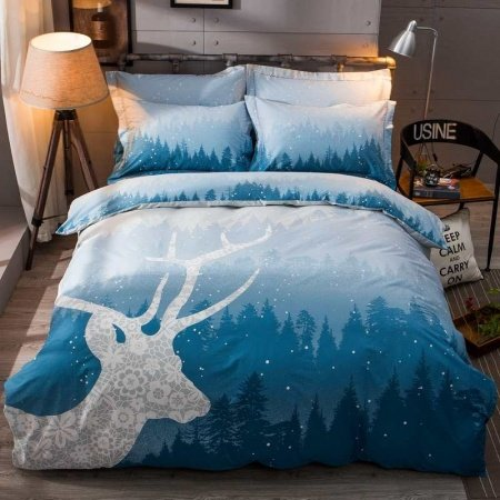Deep Blue Gray And White Forest Friend Deer Print Midnight
