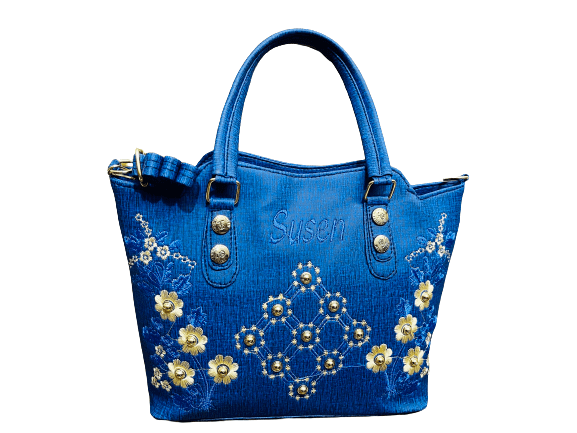 Ladies Embroidery Party Bag Blue color