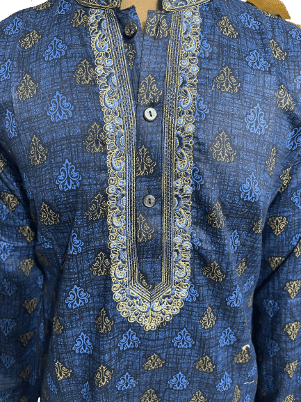 Cotton Embroidery Panjabi for men fitted navy blue color