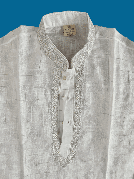 Indian Cotton White Panjabi For Men semi fitted