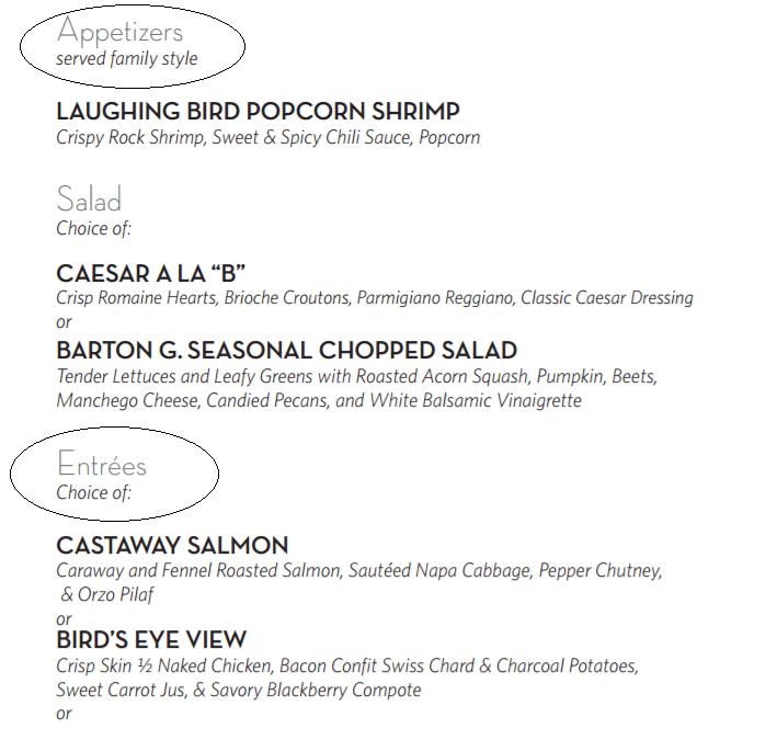 Exemplo de cardápio em parte dos restaurantes americanos.