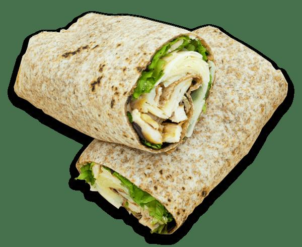 Piadina integrale, petto di pollo grigliato, insalate verdi, scaglie di formaggio grana, mayonese vegetale