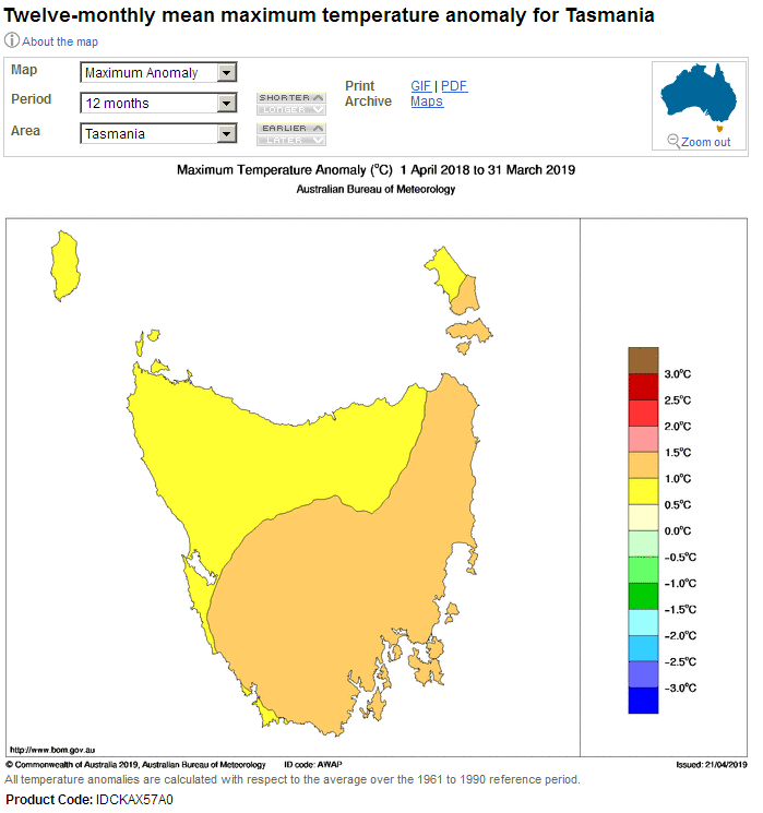 The Tasmanian temperature anomaly over six months