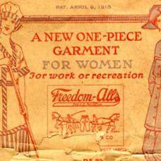 """1918 PARA LAS SEÑORAS Aparecen los """"Freedom-Alls"""". Una prenda única (túnica-pantalón) diseñada para dar libertad de movimiento a las mujeres y liberarlas de una era de ropa incómoda."""