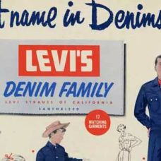 1954 PARA LOS MOMENTOS DE OCIO Se lanza la línea Denim Family, gracias al creciente interés por los vaqueros como tela adecuada para los momentos de ocio. Y lo que una vez fue solamente ropa de trabajo, cruza la línea y se pasa al mundo de la diversión.