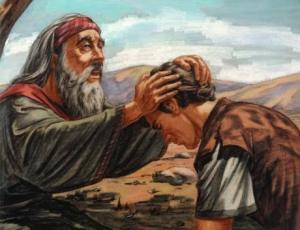 isaac dando la bendición a Esaú