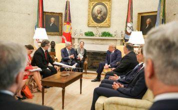 El Gobierno de México informó que se lleva a cabo la reunión de trabajo entre el presidente Andres Manuel López Obrador y el norteamericano Donald Trump