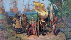 Imagen de una pintura de Cristóbal Colón a su llegada a América