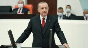 El presidente Recep Tayyip Erdogan durante un discurso ante el parlamento turco