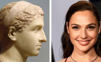 Busto antiguo de Cleopatra y la actriz israelí Gal Gadot