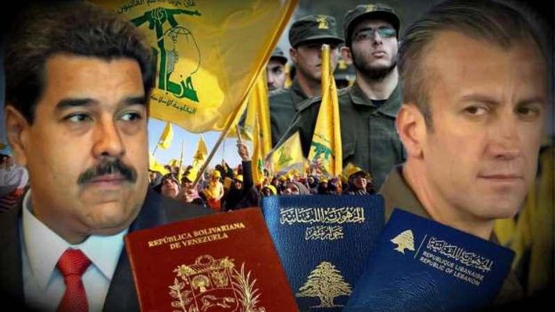 composición de la imagen con el rostro de Maduro, banderas amarillas con logo en árabe en verde de la organización Hezbolá, y militantes de uniforme militar, el rostro del candidato de Hezbolá a presidir Venezuela