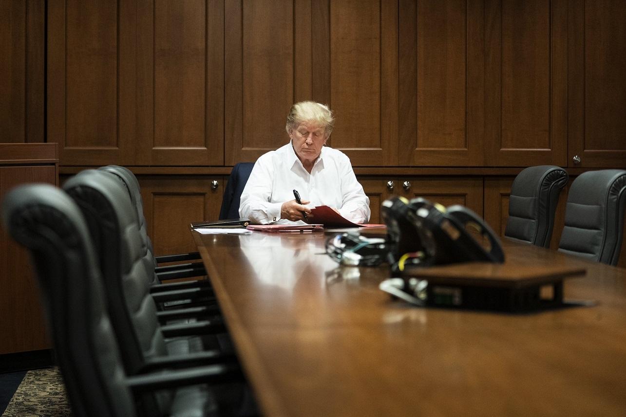 Donald Trump durante su estadía en el hospital Walter Reed