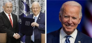 Fotografías del primer ministro israelí Benjamín Netanyahu, el presidente israelí Reuven Rivlin y el presidente electo estadounidense Joe Biden