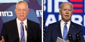 Fotografías del ministro de Defensa de Israel, Benny Gantz, y el presidente electo de EE. UU., Joe Biden