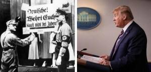 Imagen de un par de oficiales nazis y de Donald Trump en una rueda de prensa en la Casa Blanca