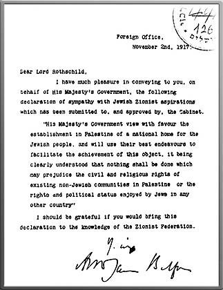 Imagen de la carta original dirigida por Arthur James Balfour al barón Lionel Walter Rothschild