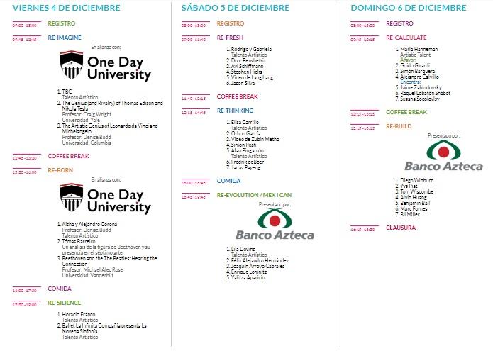 Programa de los eventos de la Ciudad de las Ideas 2020