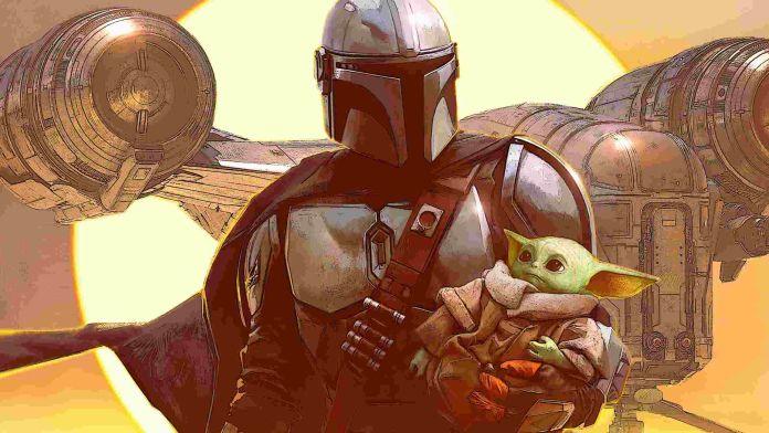 Mandalorian 3 - Mando se aleja de su nave, sosteniendo a Baby Yoda entre sus brazos, con el sol de Tatooine de fondo - Star Wars