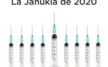Este año, la janukiá es un candelabro de Janucá hecho de jeringas y cubrebocas