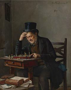 El jugador de ajedrez. Pintor judío Isidor Kaufman