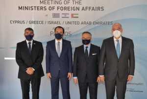 El canciller israelí Gabi Ashkenazi se reunió este viernes con sus homólogos de los Emiratos Árabes Unidos, Grecia y Chipre