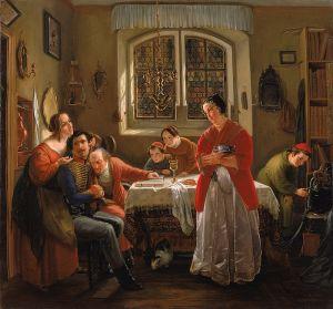El regreso del voluntario judío. Pintor judío Openheim