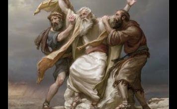Moisés en la guerra contra Amalek