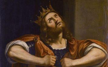 El rey David rezando y arrepintiéndose
