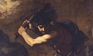 Caín desplegando su enojo contra Abel