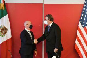 Alejandro Mayorkas, Secretario de Seguridad Nacional de EE. UU. se reunió esta tarde con el canciller mexicano Marcelo Ebrard