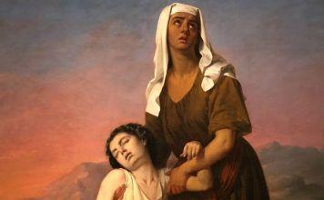 Hagar e Ishmael en el desierto