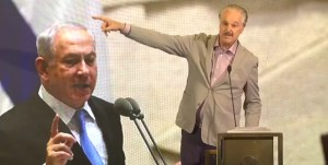 Mike Evans y una imagen de Benjamín Netanyahu