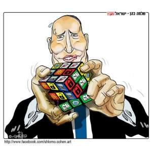 Bennett intenta acomodar un cubo de Rubik donde aparecen vacunas, mascarillas, clases presenciales y cierre del país
