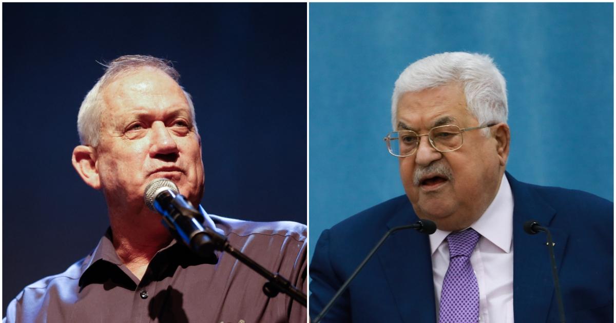 Ministro de Defensa, Benny Gantz, presidente de la Autoridad Palestina, Mahmoud Abbas-palestinos