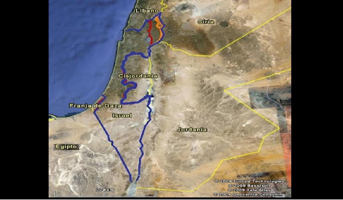 El estado de Israel colinda con 4 países: Líbano, Siria, Jordania y Egipto