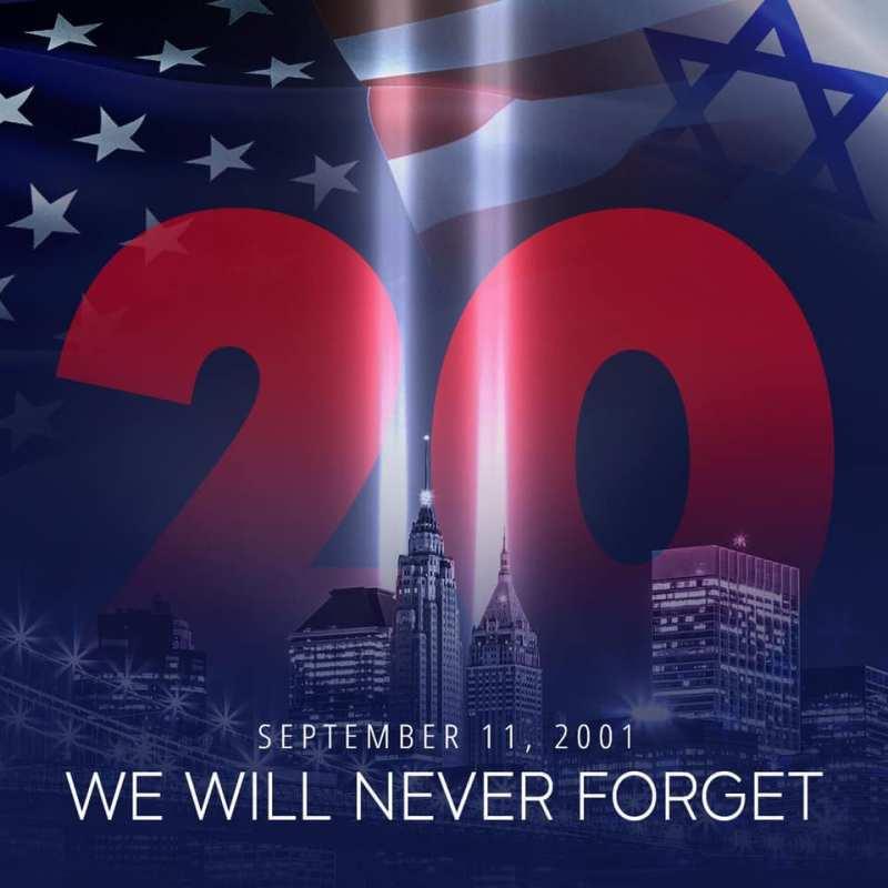 una bandera de israel y de los Estados Unidos en el aniversario del 11 de septiembre